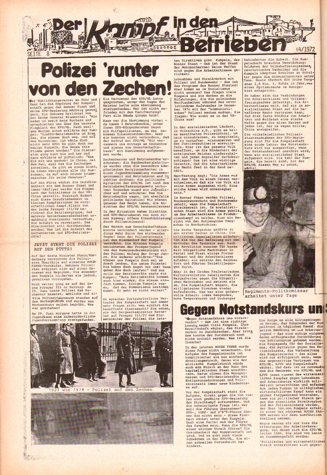 Rote Fahne, 3. Jg., 10.7.1972, Nr. 14, Seite 8