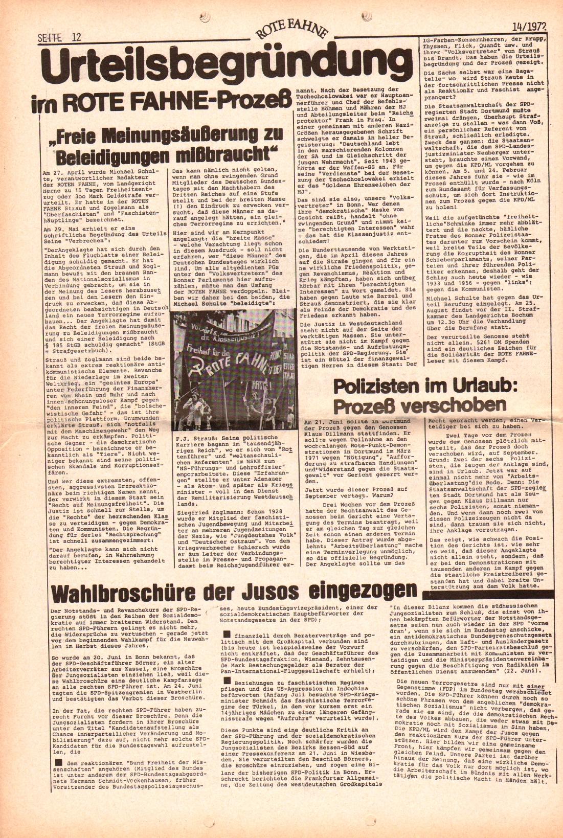 Rote Fahne, 3. Jg., 10.7.1972, Nr. 14, Seite 12