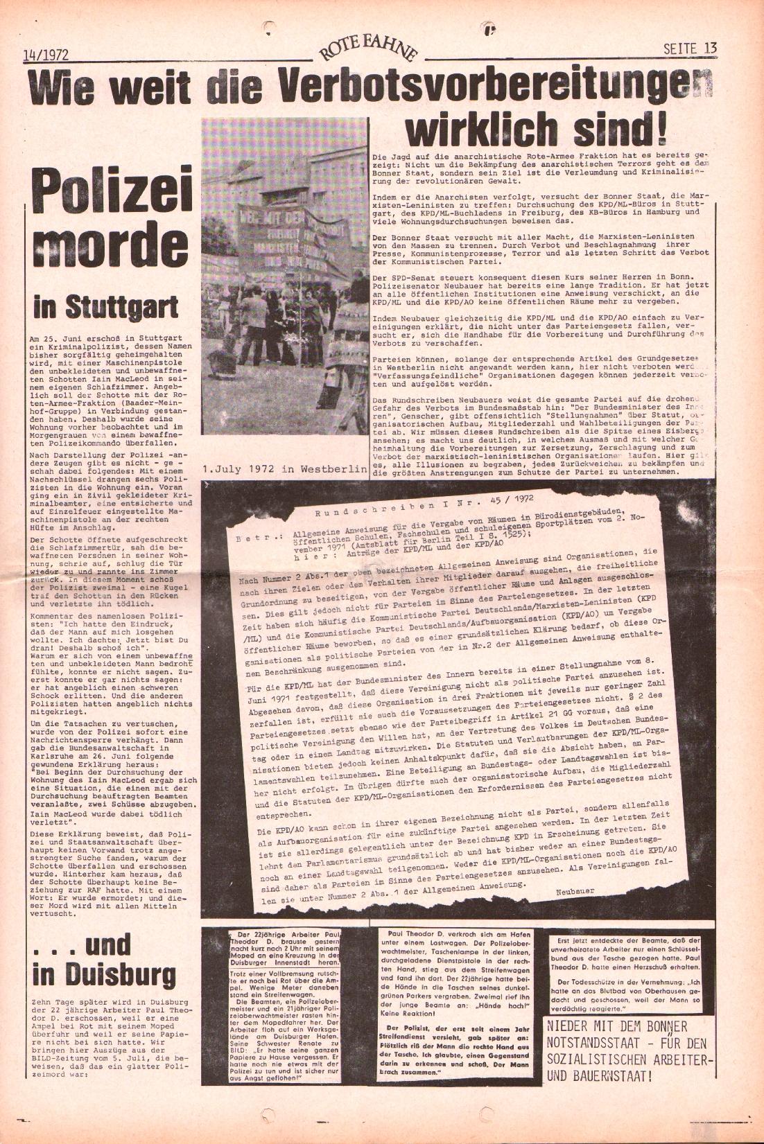 Rote Fahne, 3. Jg., 10.7.1972, Nr. 14, Seite 13