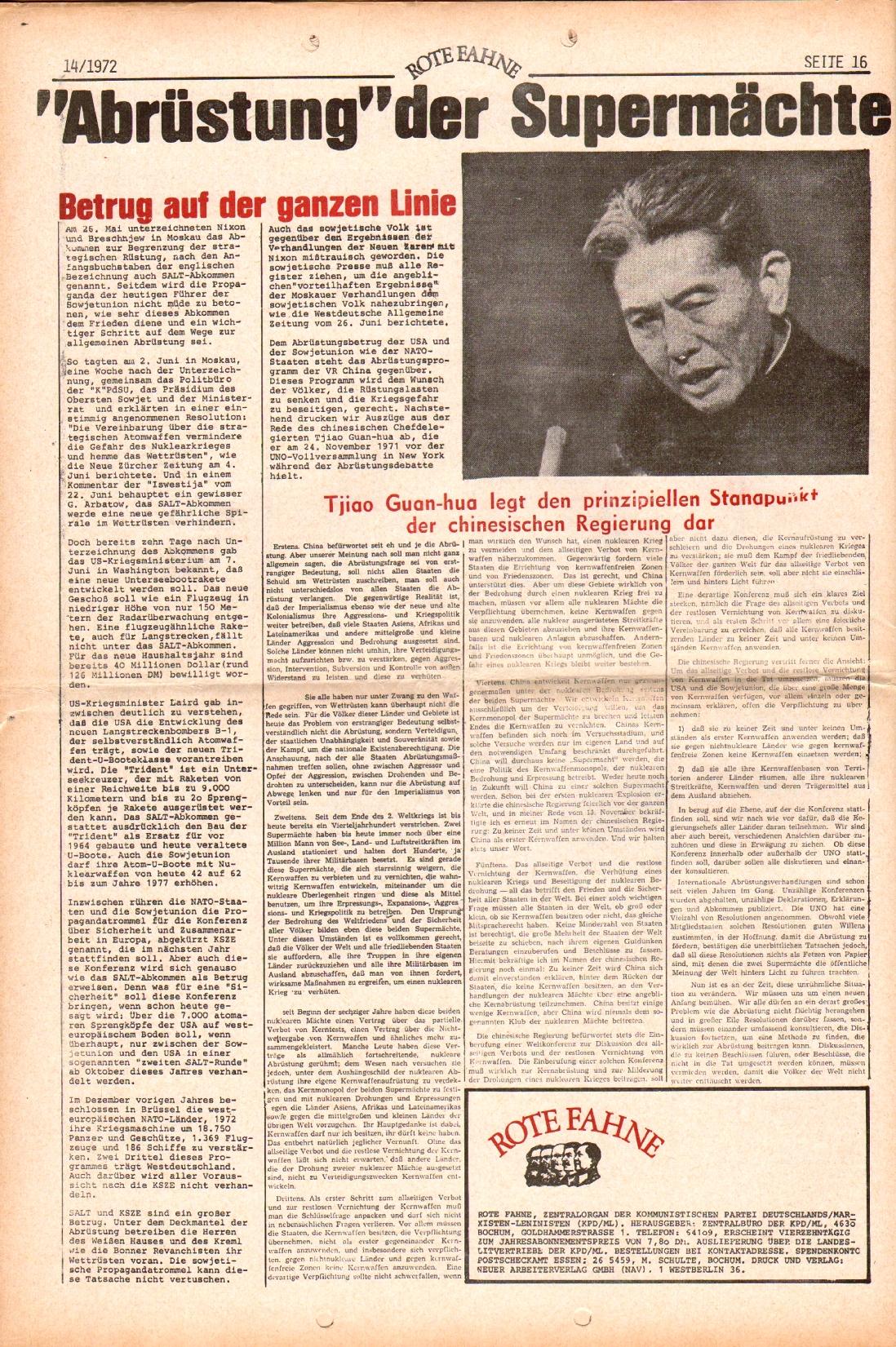 Rote Fahne, 3. Jg., 10.7.1972, Nr. 14, Seite 16