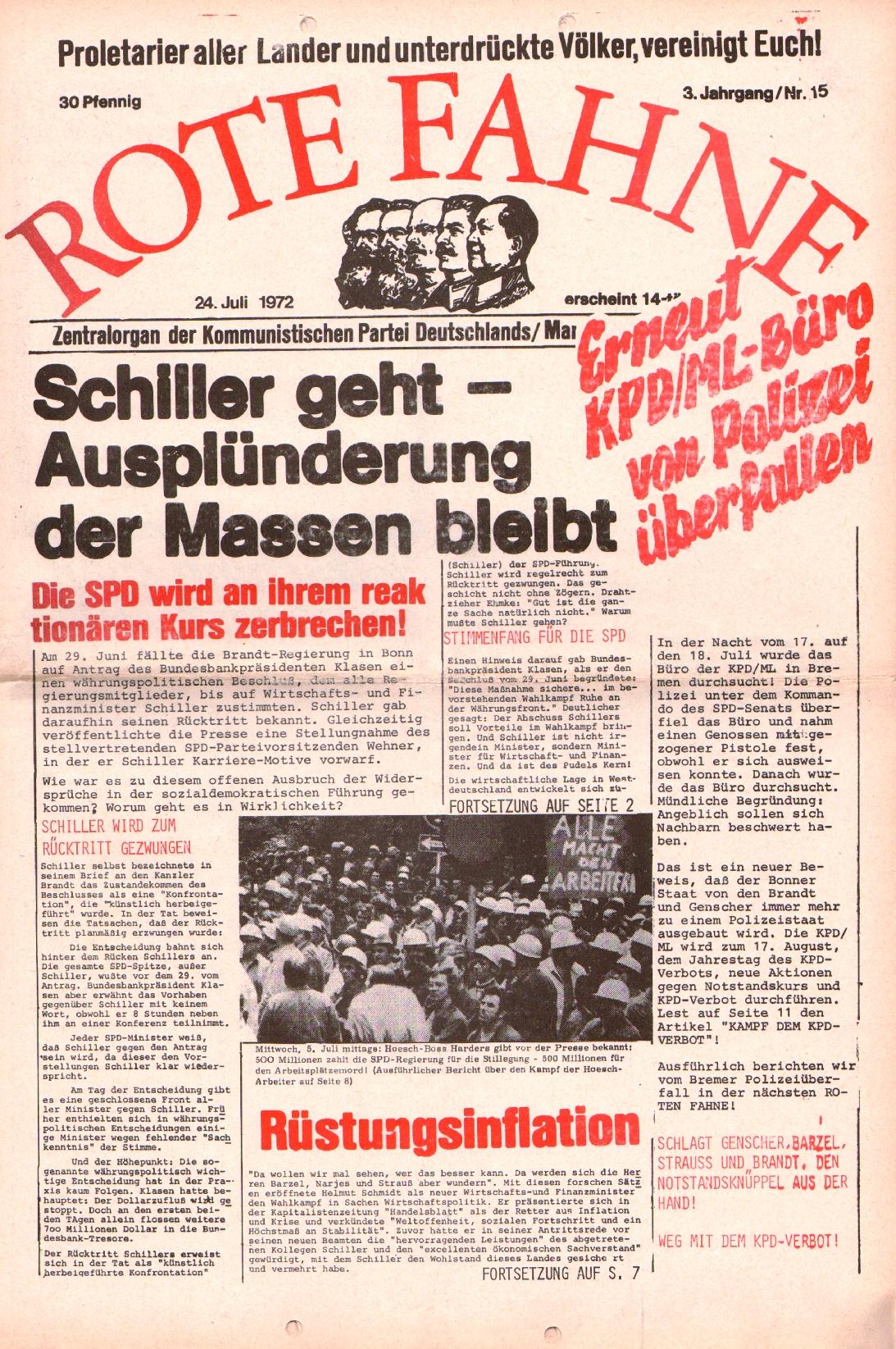 Rote Fahne, 3. Jg., 24.7.1972, Nr. 15, Seite 1
