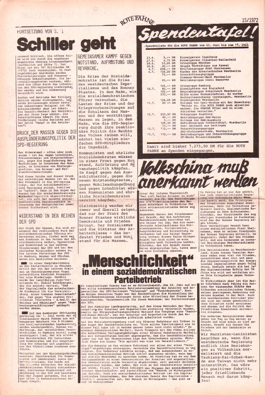 Rote Fahne, 3. Jg., 24.7.1972, Nr. 15, Seite 2