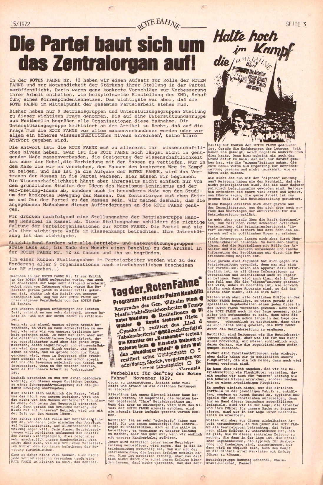 Rote Fahne, 3. Jg., 24.7.1972, Nr. 15, Seite 3