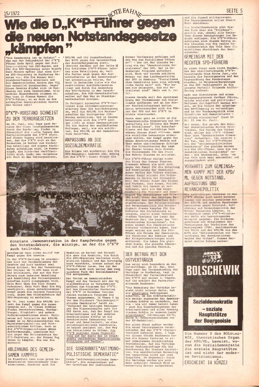 Rote Fahne, 3. Jg., 24.7.1972, Nr. 15, Seite 5