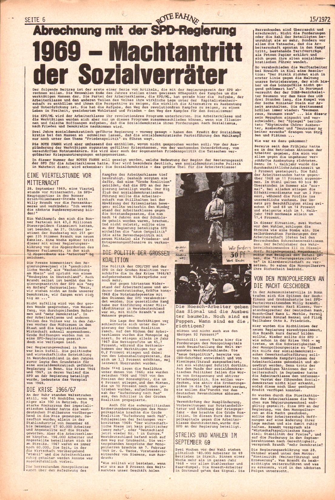 Rote Fahne, 3. Jg., 24.7.1972, Nr. 15, Seite 6