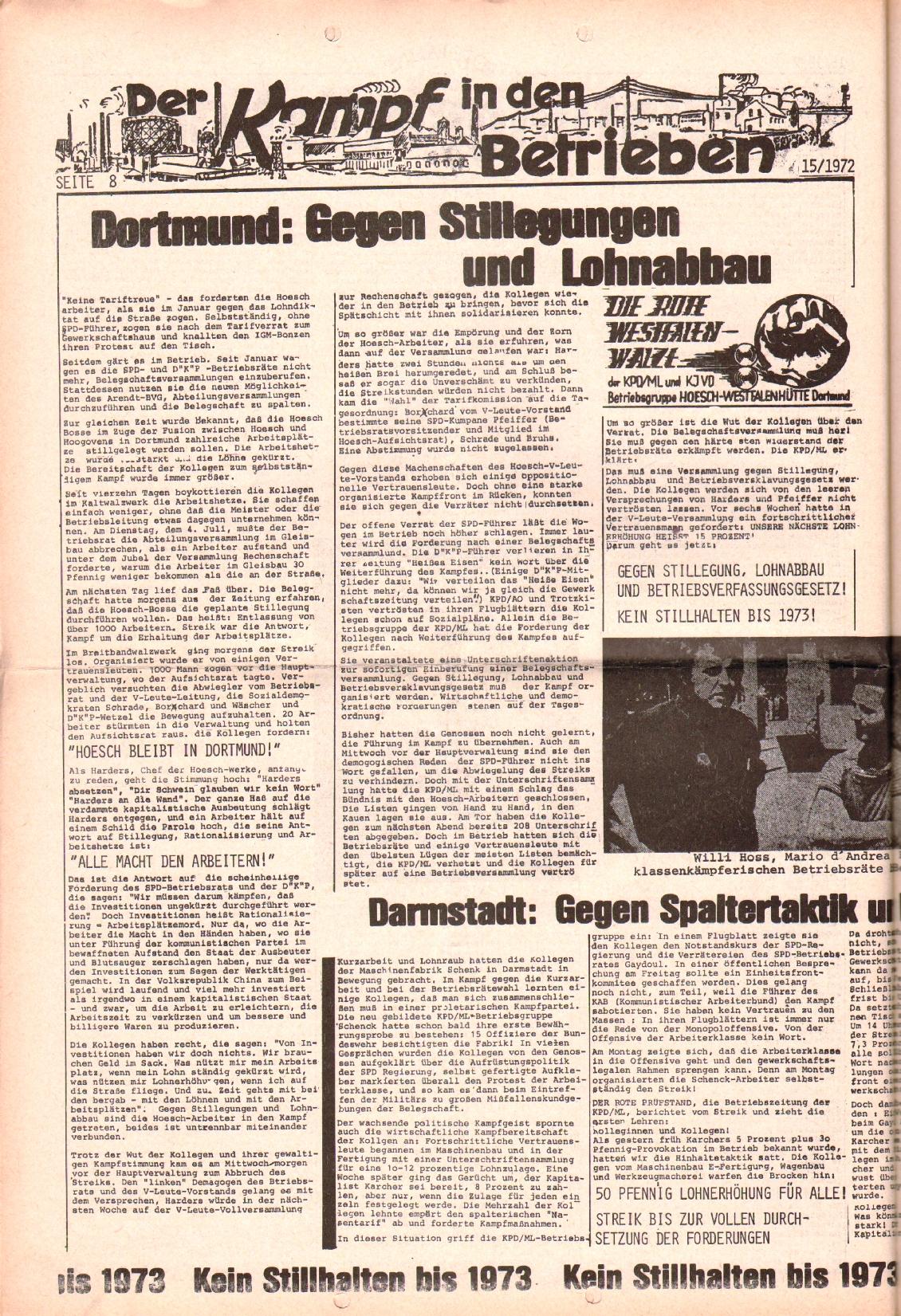 Rote Fahne, 3. Jg., 24.7.1972, Nr. 15, Seite 8