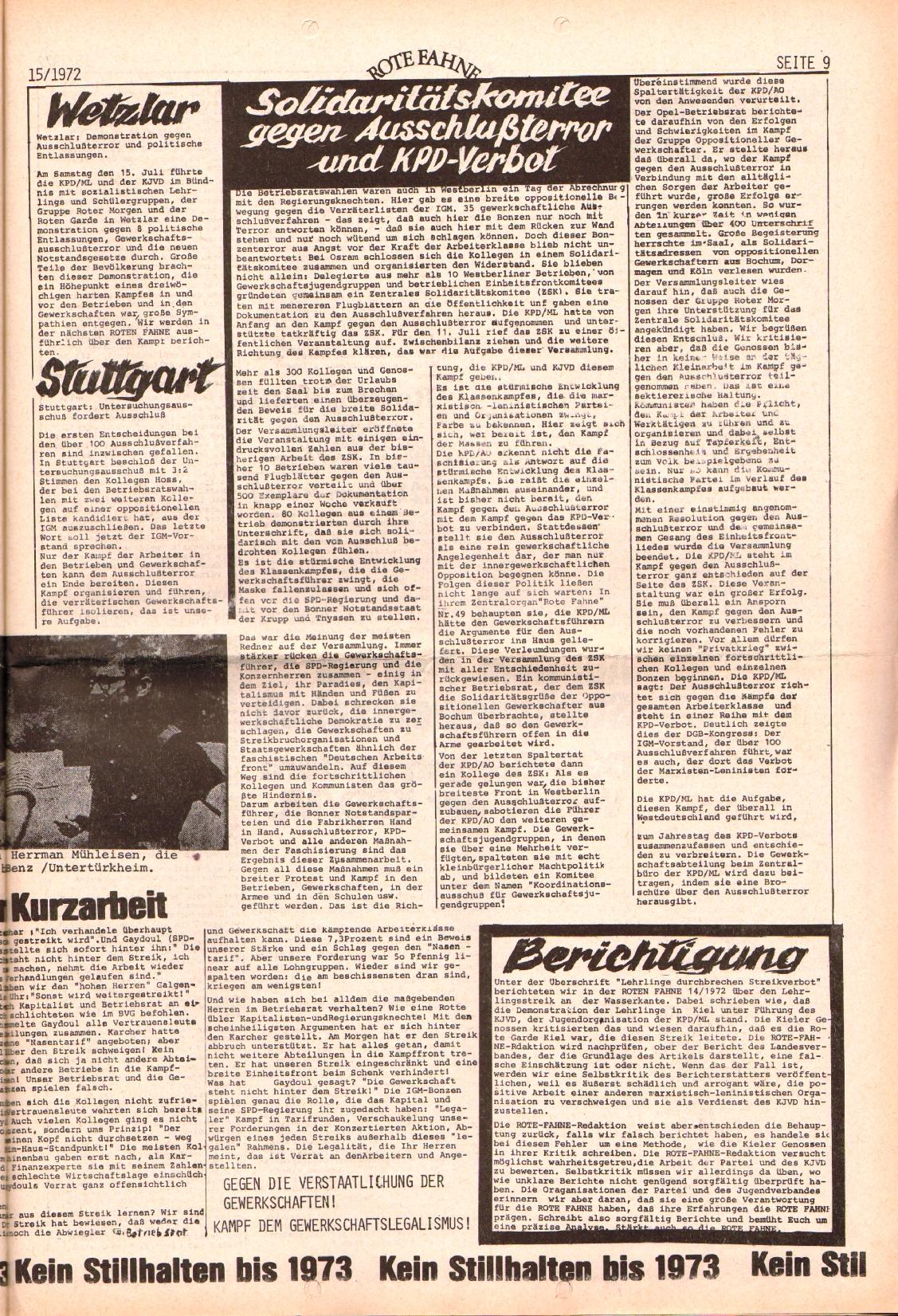 Rote Fahne, 3. Jg., 24.7.1972, Nr. 15, Seite 9