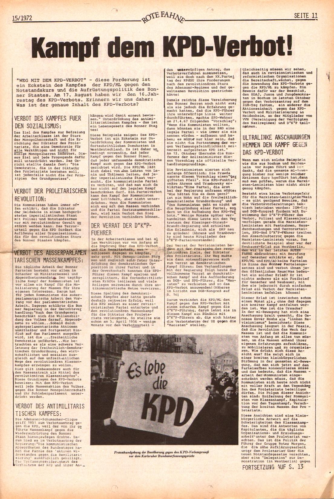 Rote Fahne, 3. Jg., 24.7.1972, Nr. 15, Seite 11