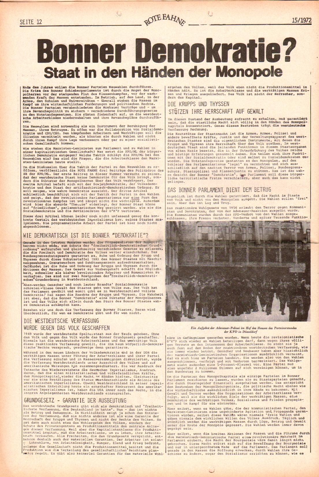 Rote Fahne, 3. Jg., 24.7.1972, Nr. 15, Seite 12