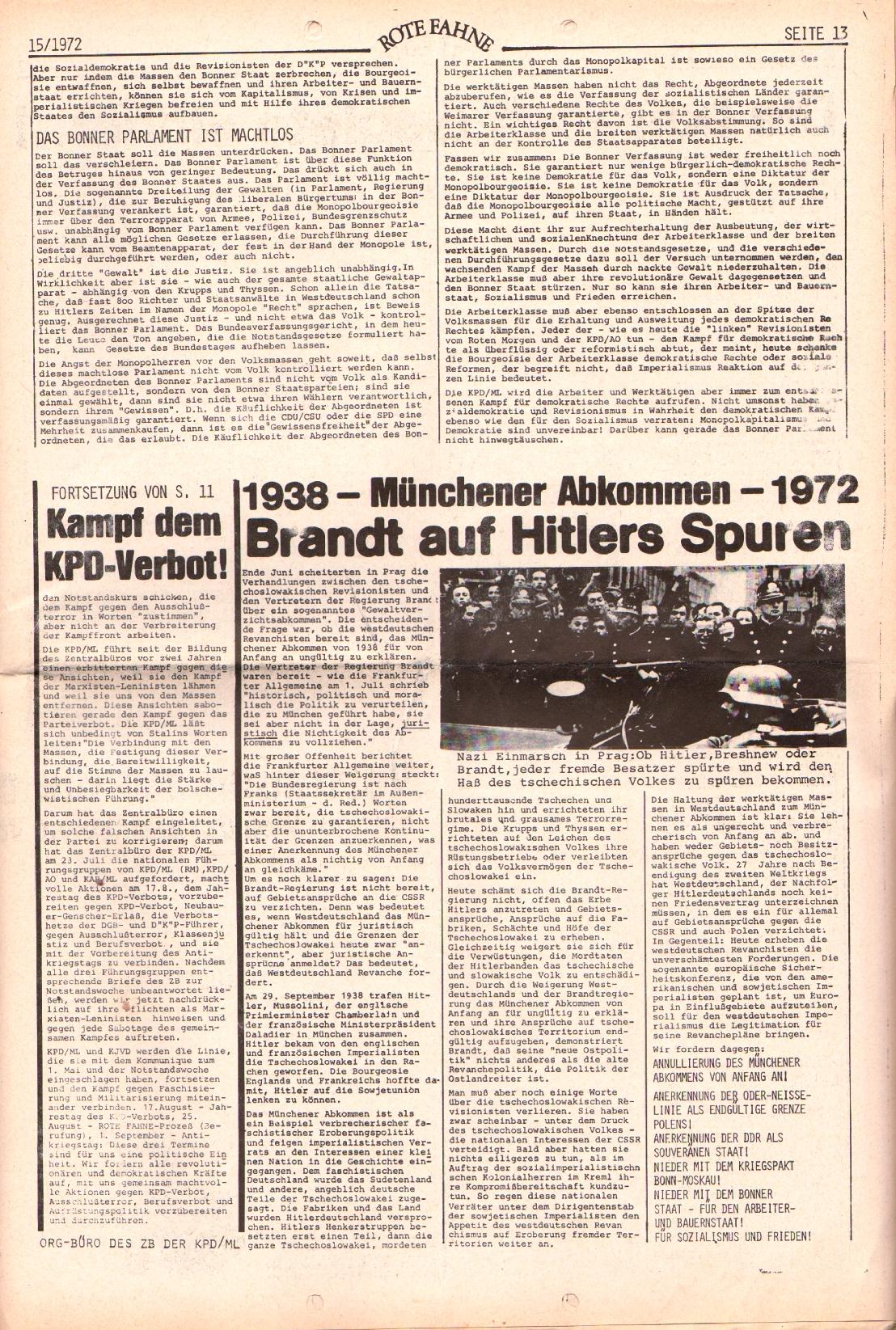 Rote Fahne, 3. Jg., 24.7.1972, Nr. 15, Seite 13