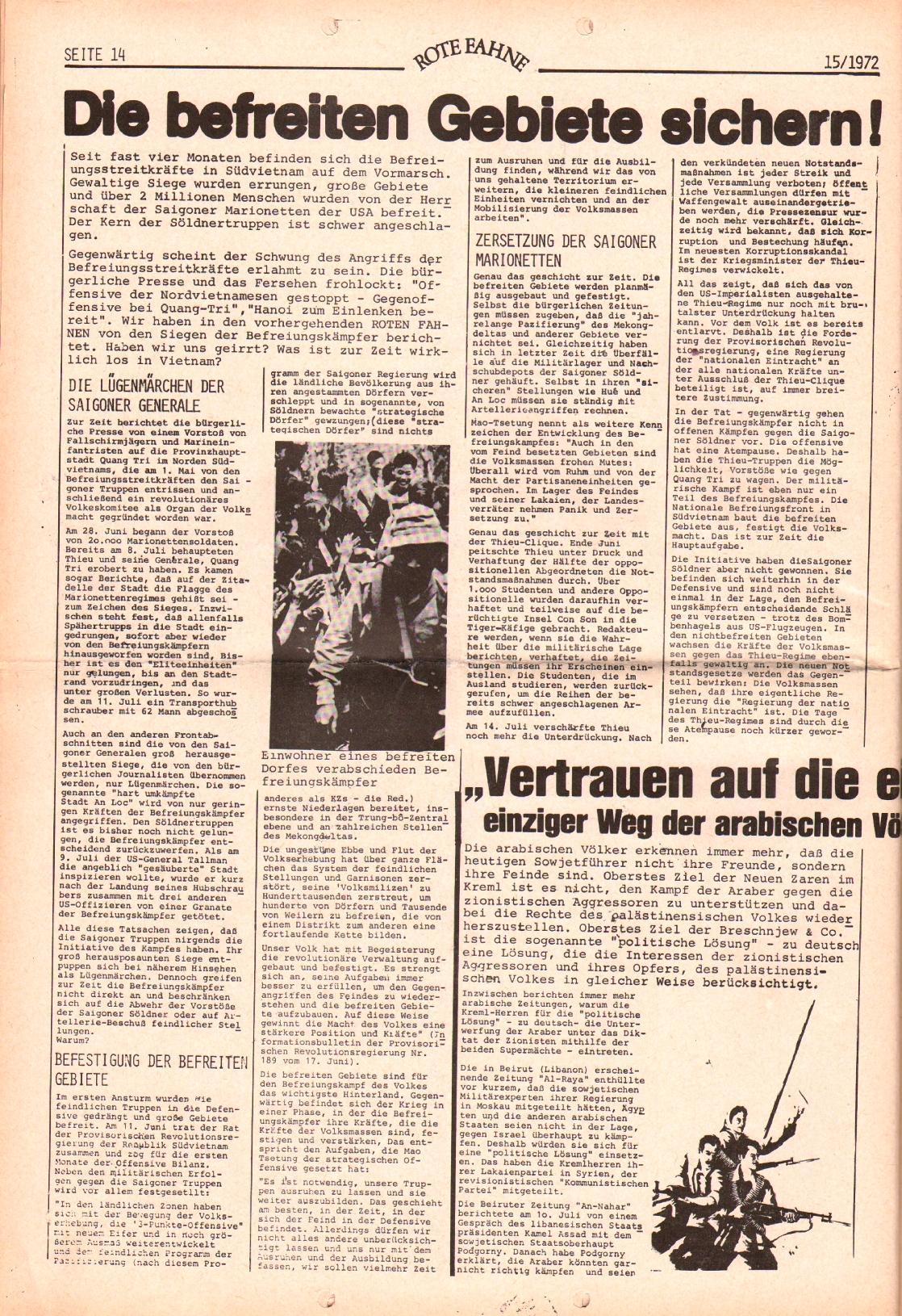 Rote Fahne, 3. Jg., 24.7.1972, Nr. 15, Seite 14