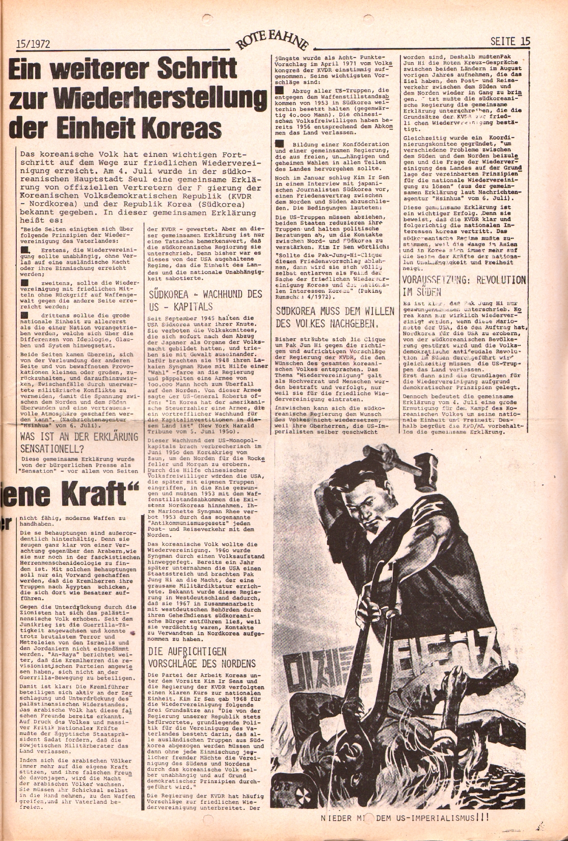 Rote Fahne, 3. Jg., 24.7.1972, Nr. 15, Seite 15
