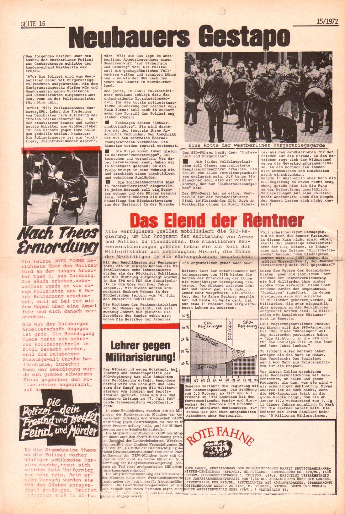 Rote Fahne, 3. Jg., 24.7.1972, Nr. 15, Seite 16