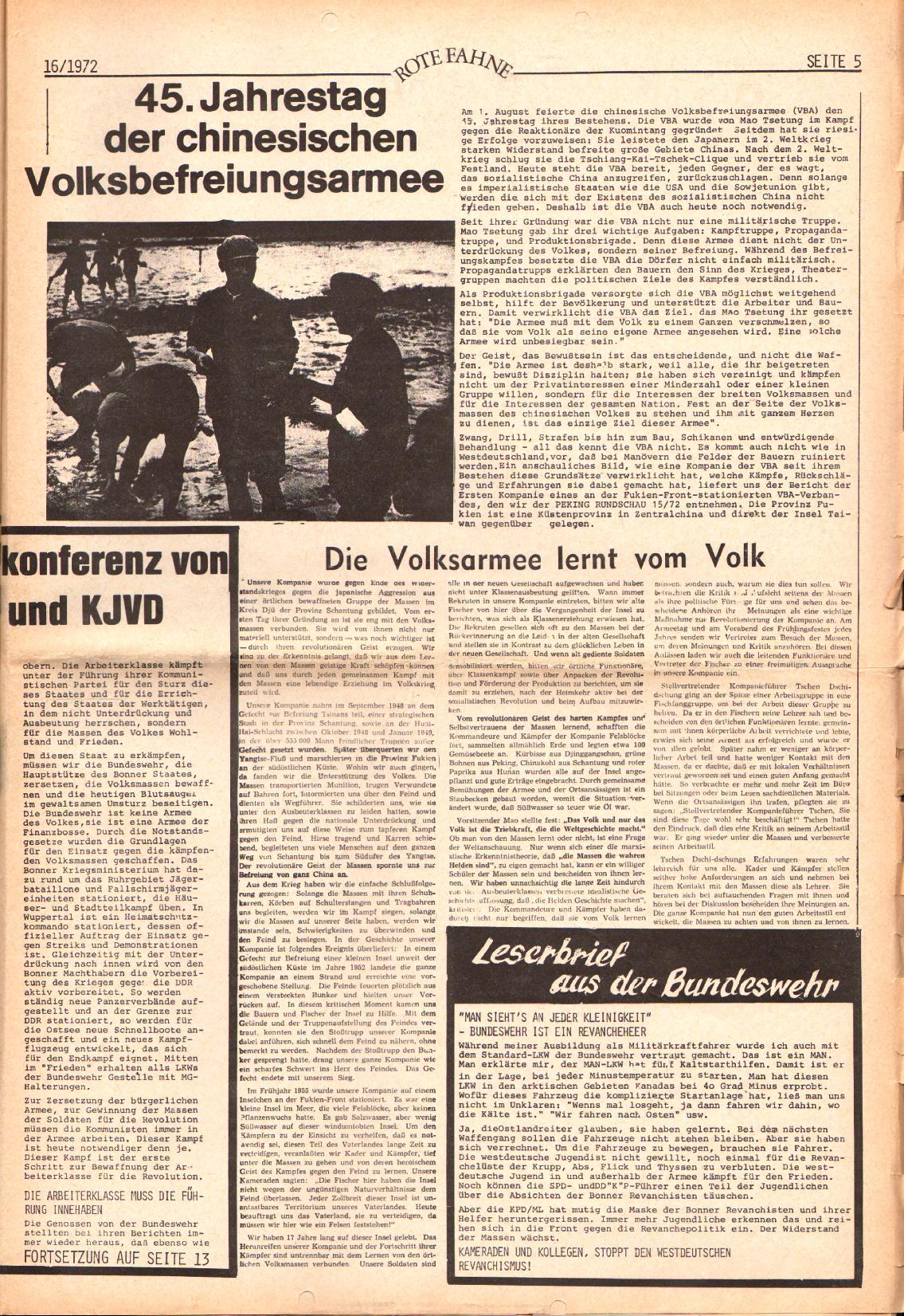 Rote Fahne, 3. Jg., 7.8.1972, Nr. 16, Seite 5