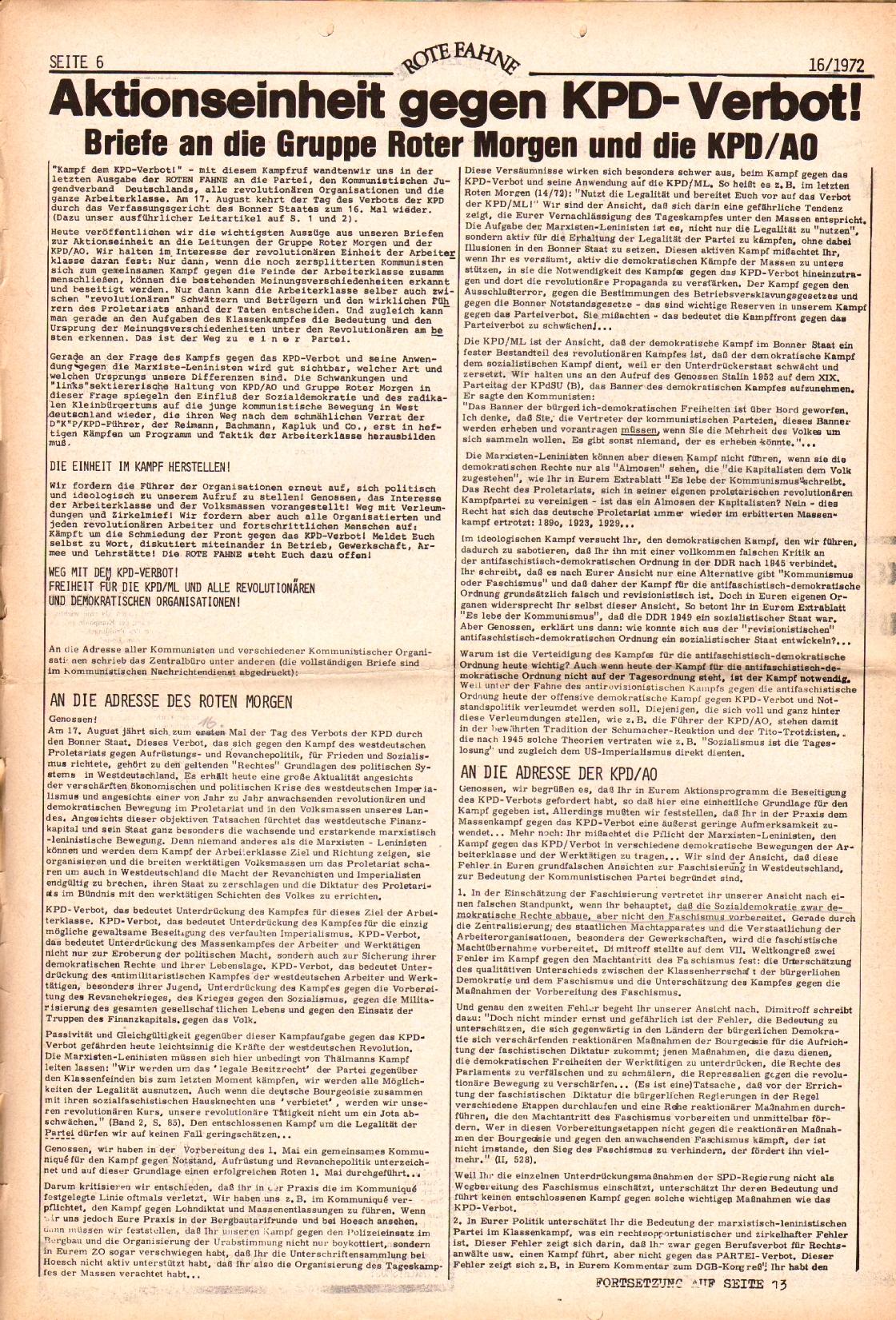 Rote Fahne, 3. Jg., 7.8.1972, Nr. 16, Seite 6