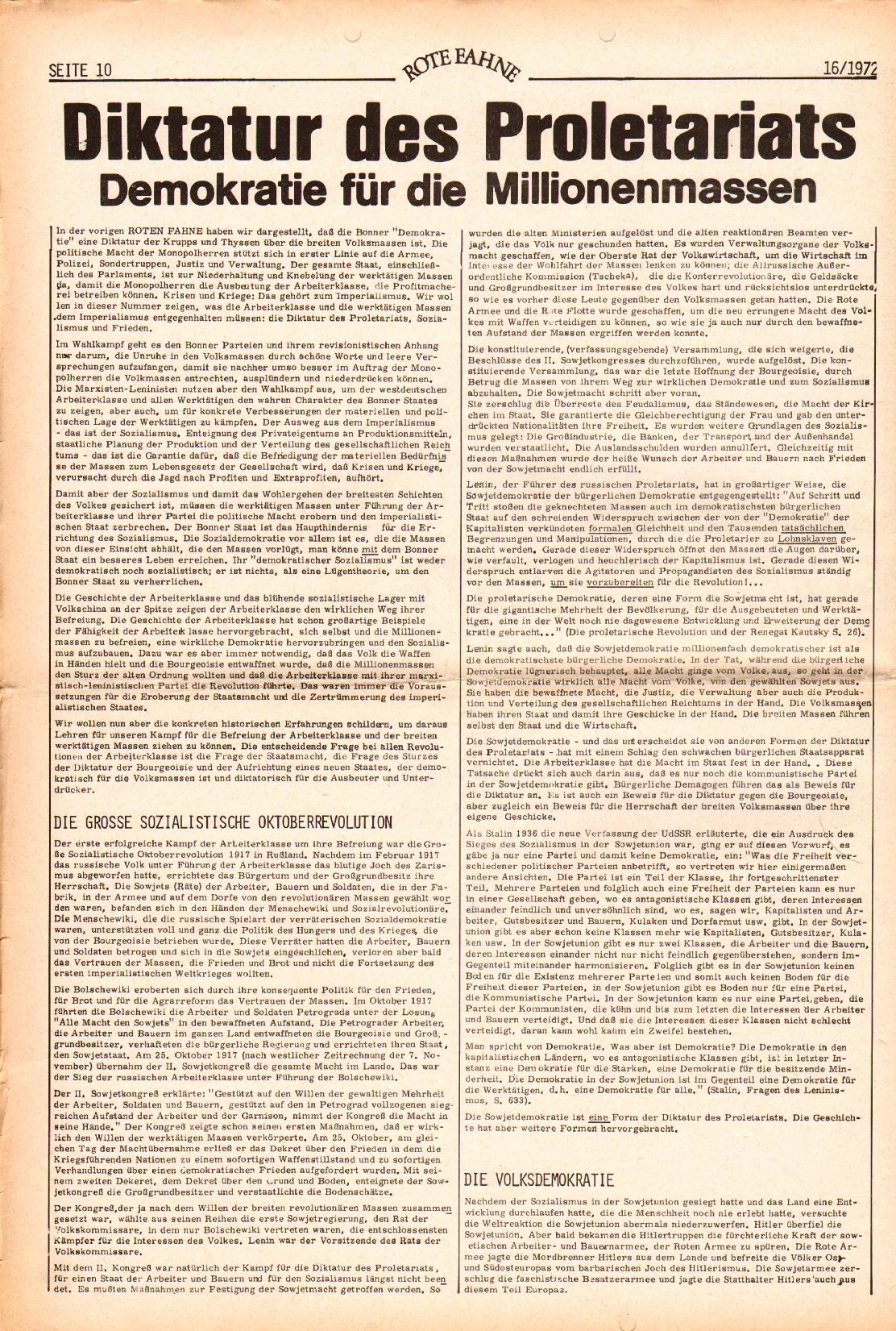 Rote Fahne, 3. Jg., 7.8.1972, Nr. 16, Seite 10