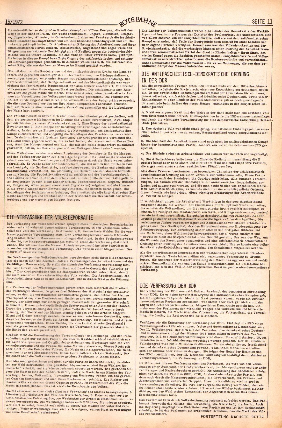 Rote Fahne, 3. Jg., 7.8.1972, Nr. 16, Seite 11
