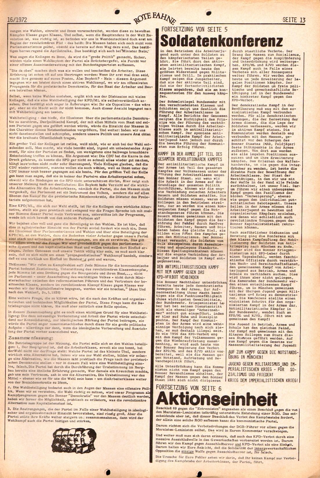 Rote Fahne, 3. Jg., 7.8.1972, Nr. 16, Seite 13