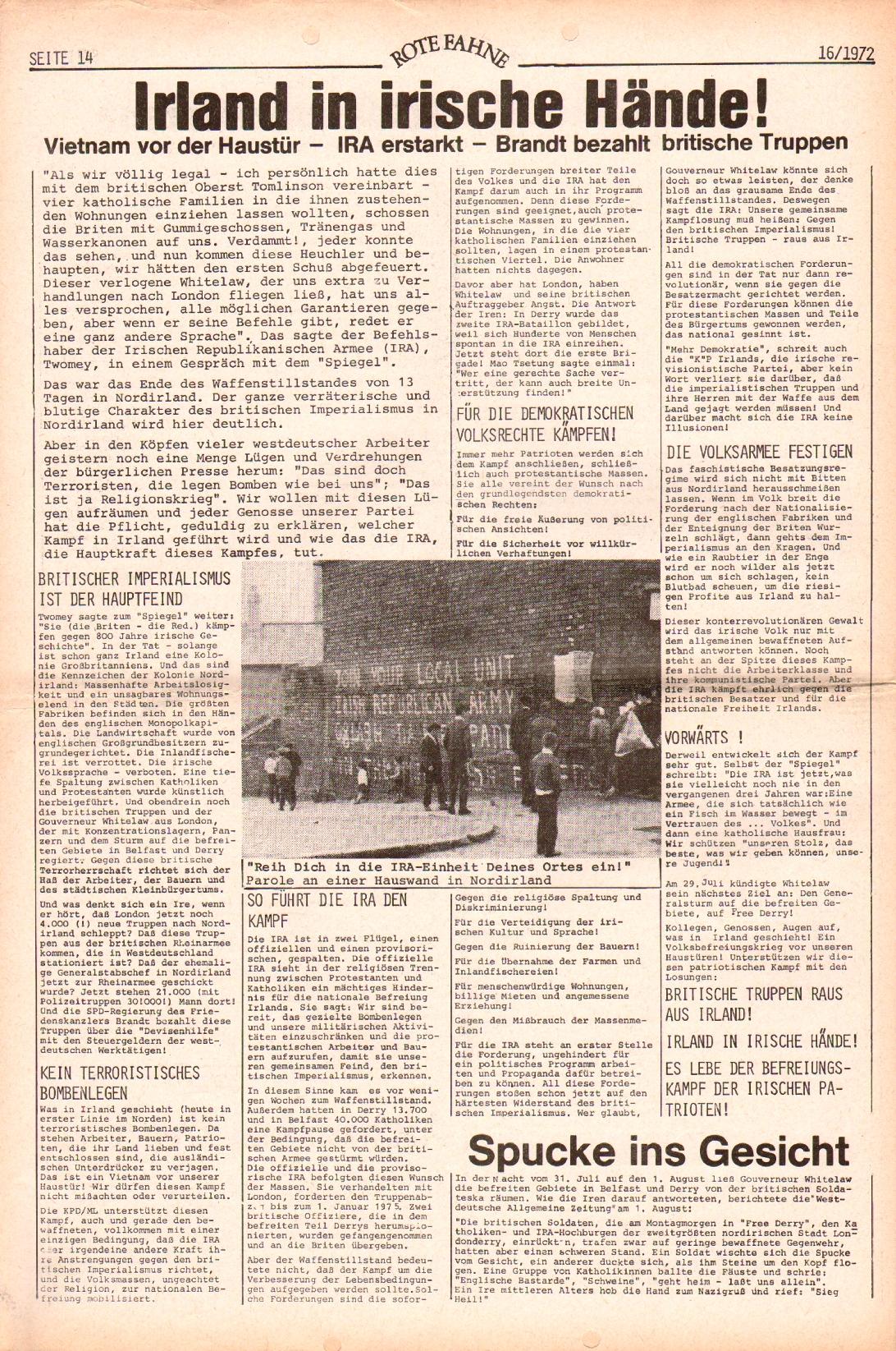 Rote Fahne, 3. Jg., 7.8.1972, Nr. 16, Seite 14