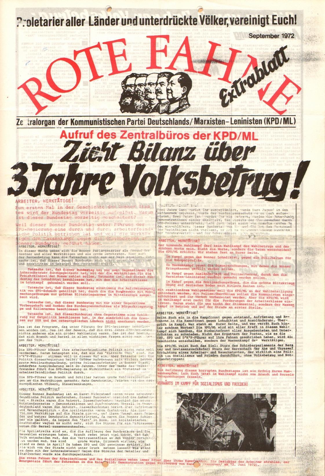 Rote Fahne, 3. Jg., September 1972, Extrablatt, Seite 1
