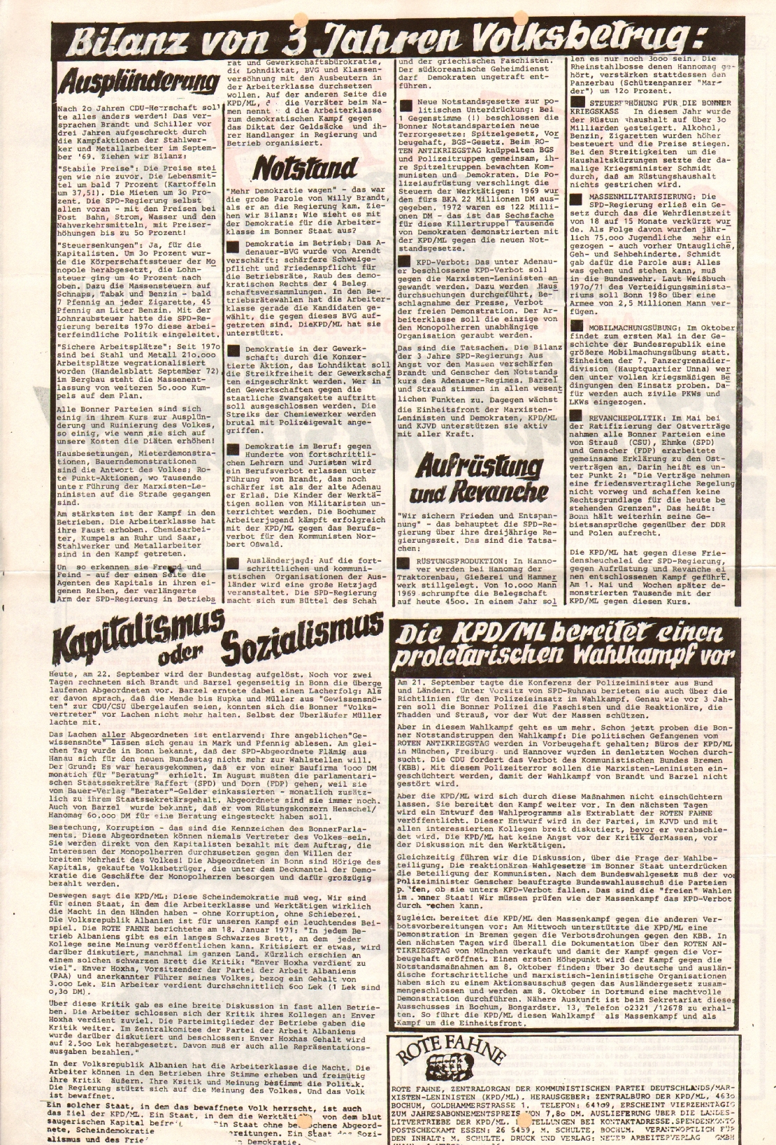 Rote Fahne, 3. Jg., September 1972, Extrablatt, Seite 2