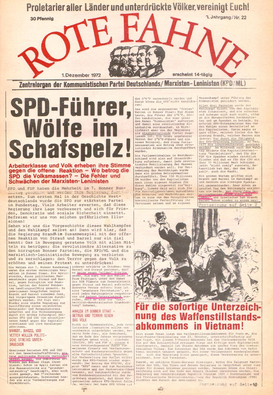 Rote Fahne, 3. Jg., 1.12.1972, Nr. 22, Seite 1