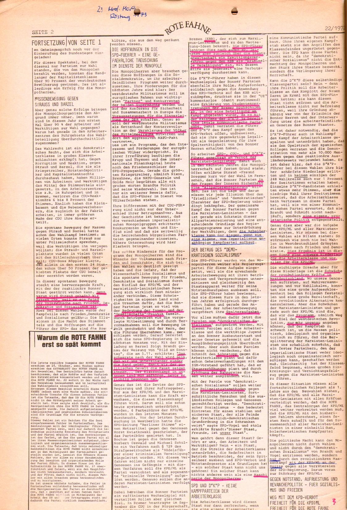 Rote Fahne, 3. Jg., 1.12.1972, Nr. 22, Seite 2
