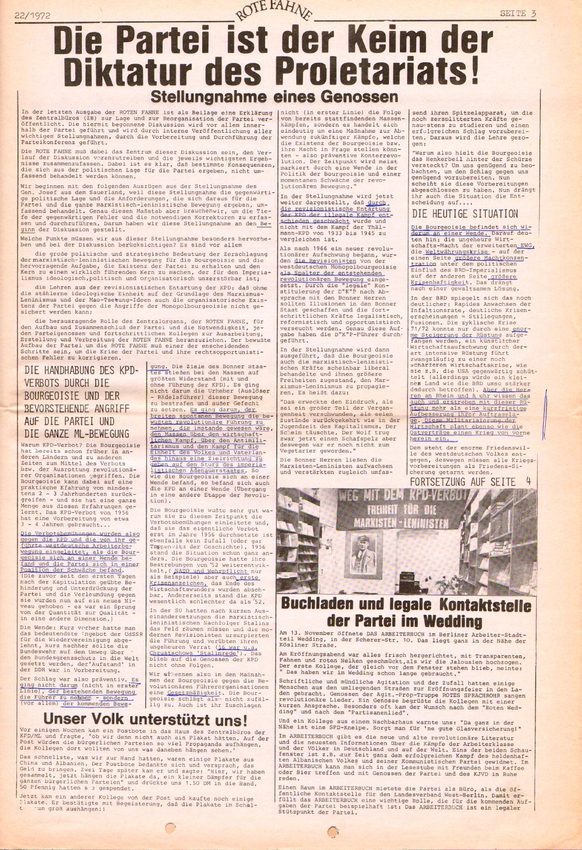 Rote Fahne, 3. Jg., 1.12.1972, Nr. 22, Seite 3