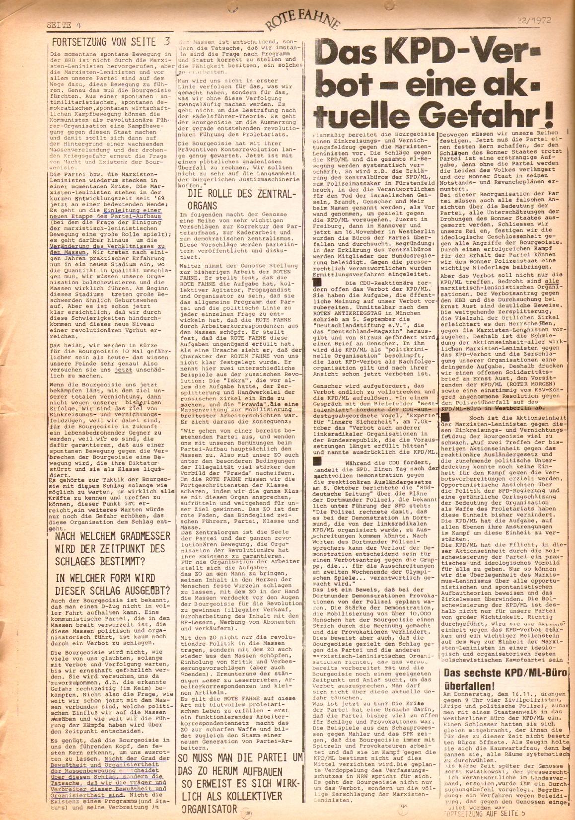 Rote Fahne, 3. Jg., 1.12.1972, Nr. 22, Seite 4