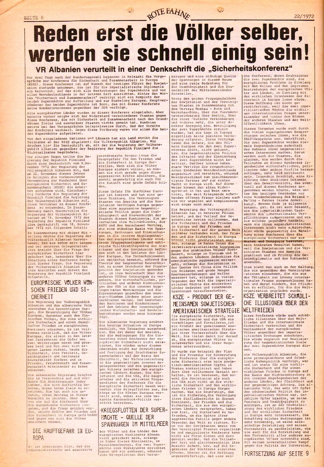 Rote Fahne, 3. Jg., 1.12.1972, Nr. 22, Seite 8