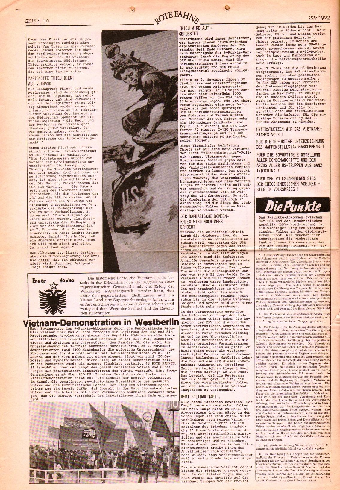 Rote Fahne, 3. Jg., 1.12.1972, Nr. 22, Seite 10