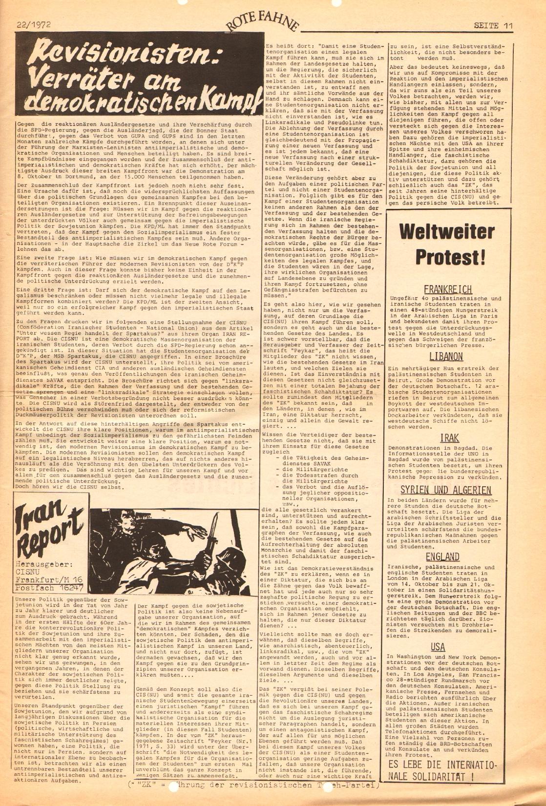 Rote Fahne, 3. Jg., 1.12.1972, Nr. 22, Seite 11