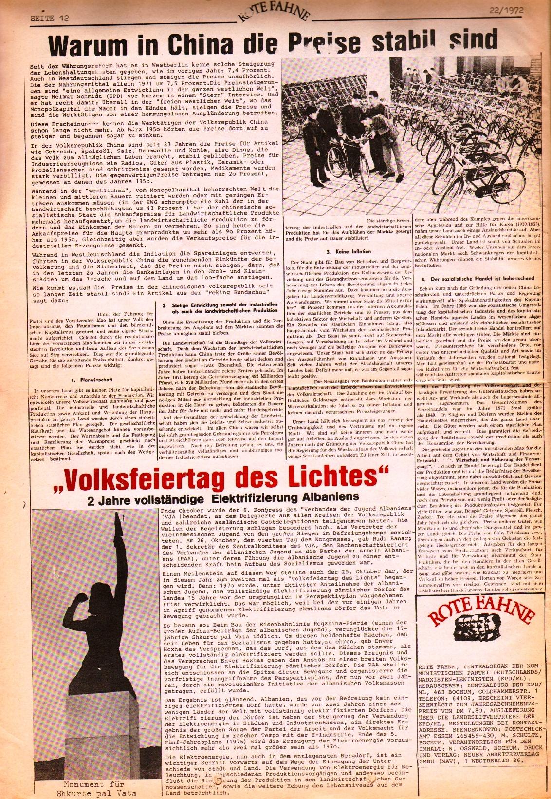 Rote Fahne, 3. Jg., 1.12.1972, Nr. 22, Seite 12