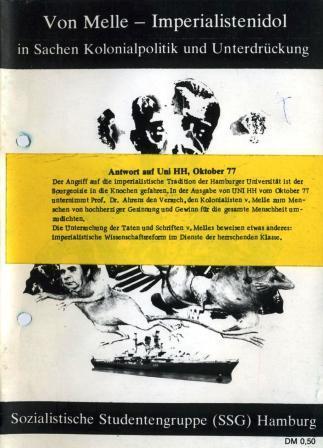 Titelbild der Broschüre der SSG: Von Melle _ Imperialistenidol in Sachen Kolonialpolitik und Unterdrückung