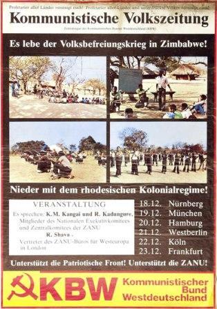 Plakat: Es lebe der Volksbefreiungskrieg in Zimbabwe _ Veranstaltungen (KBW)