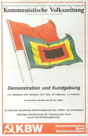 Plakat: Es lebe der bewaffnete Befreiungskampf des Volkes von Zimbabwe _ Demonstration und Kundgebung (KBW)