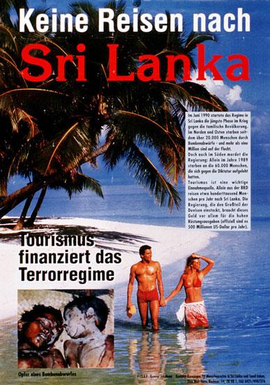 Plakat: Keine Reisen nach Sri Lanka
