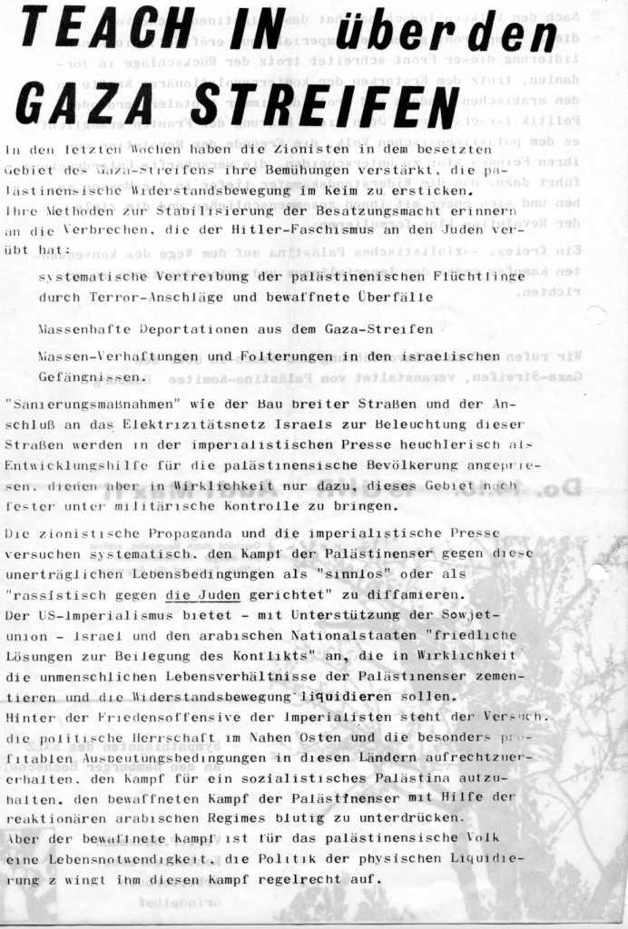 Flugblatt: Teach_in über den Gazastreifen (am 14.10.1971 in Hamburg, Vorderseite)