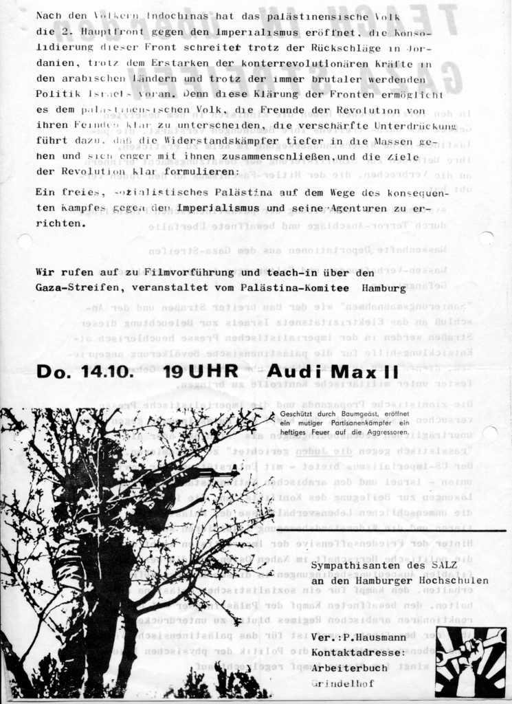 Flugblatt: Teach_in über den Gazastreifen (am 14.10.1971 in Hamburg, Rückseite)