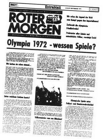 Roter Morgen _ Extrablatt: Olympia 1972 _ wessen_Spiele?
