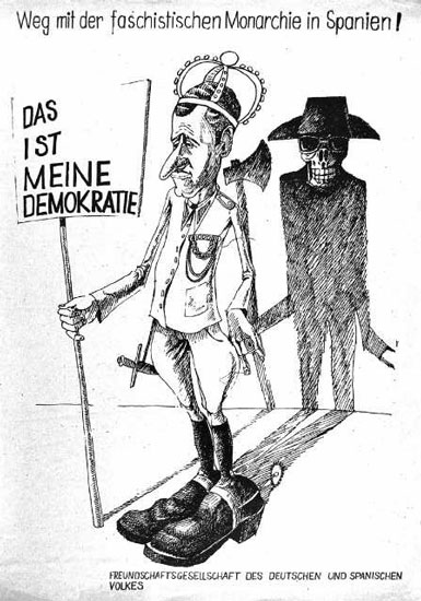 Plakat: Weg mit der faschistischen Monarchie in Spanien (Datum unbekannt)