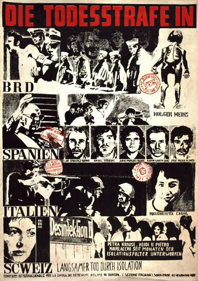 Plakat: Die Todesstrafe in BRD, Spanien, Italien, Schweiz (1975)
