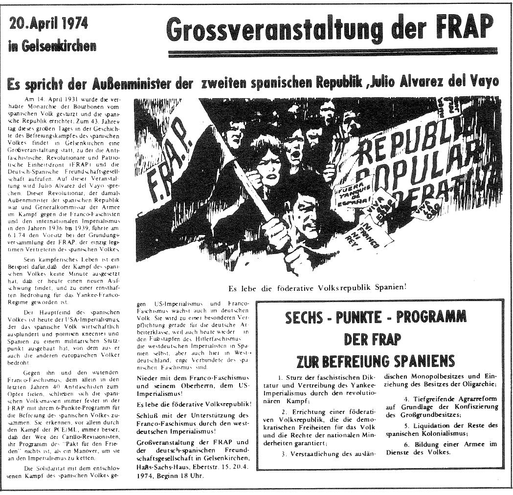 Aufruf zur Grossveranstaltung in Gelsenkirchen am 20.4.1974
