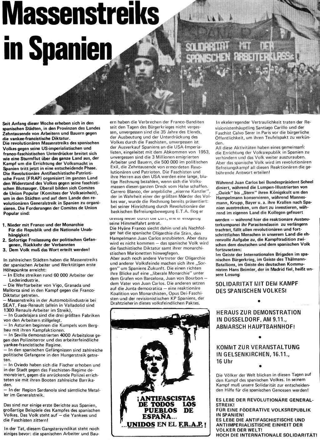 Massenstreiks in Spanien, aus: DVD 23/74 vom 31. Oktober 1974