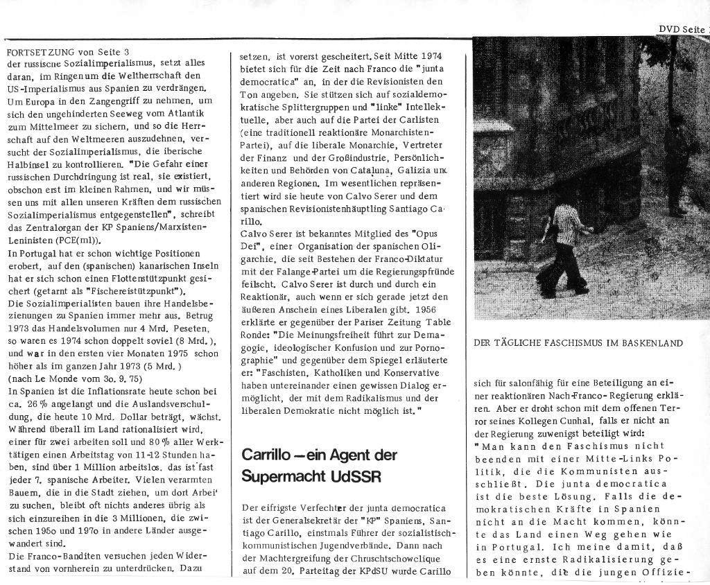 Massenstreiks in Spanien, aus: DVD 14/75 vom 15. Oktober 1975, Seite 17