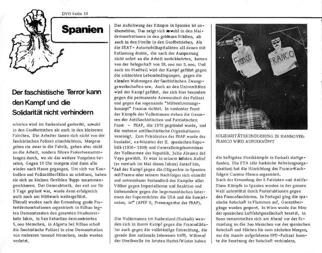Massenstreiks in Spanien, aus: DVD 14/75 vom 15. Oktober 1975, Seite 18