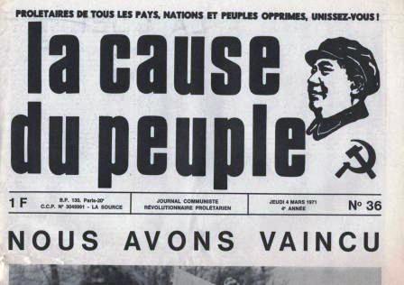 """Kopf der Zeitung """"la cause du peuple"""" (1971)"""