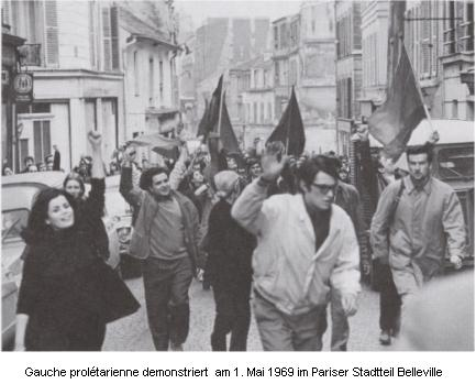 Gauche proplétarienne demonstriert am 1. Mai 1969 im Pariser Stadtteil Belleville