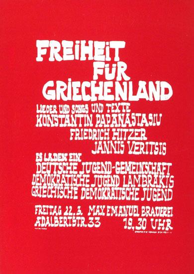 Freiheit fuer Griechenland - Lieder (Plakat, 1968)