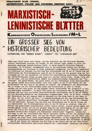 Marxistisch_leninistische Blätter, Zeitung der Kommunistischen Organisation Luxemburgs/ML